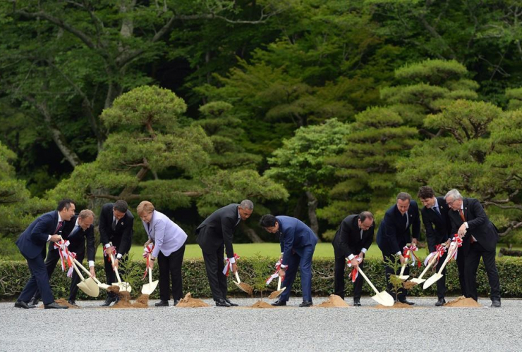 tree planting, Ise Grand Shrine, Ise Jingu, Ise, Japan, G7 Summit,