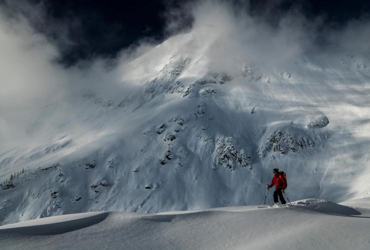 Professional adventurer Greg Hill, skis, Rogers Pass,