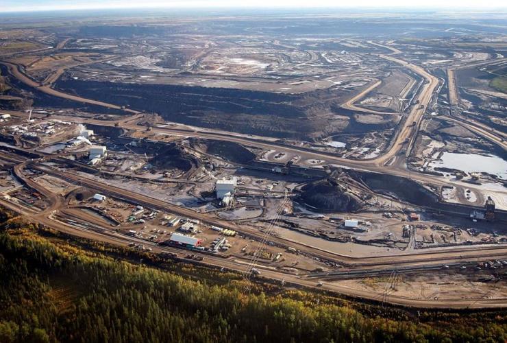 aerial photo, tar sands mine facility, Fort McMurray, Alberta,