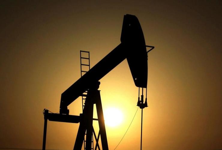 sun set, oil pump, oil fields,  Sakhir, Bahrain,