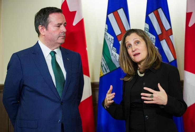 Alberta Premier Jason Kenney, Deputy Prime Minister Chrystia Freeland,