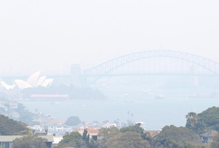 Smoke, haze, wildfires, skyline, Sydney, Australia,