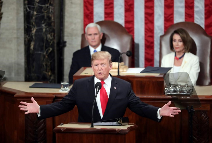 President Donald Trump, Vice President Mike Pence, Speaker of the House Nancy Pelosi,