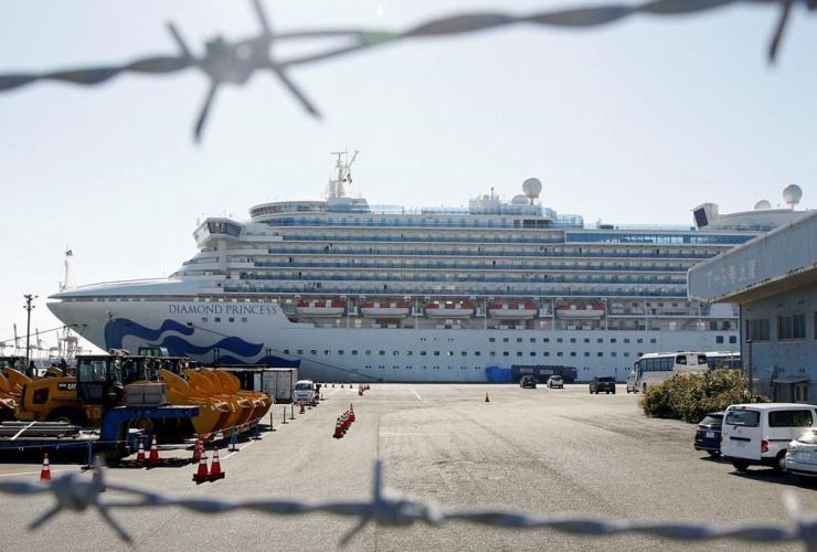 quarantined ship, Diamond Princess, Yokohama port, Yokohama, Tokyo,