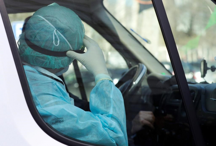 medical employer, protective suit, ambulance car, hospital for infectious diseases, Minsk, Belarus,