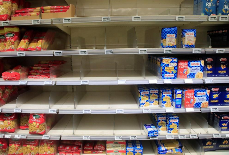 Empty shelves, supermarket, Paris