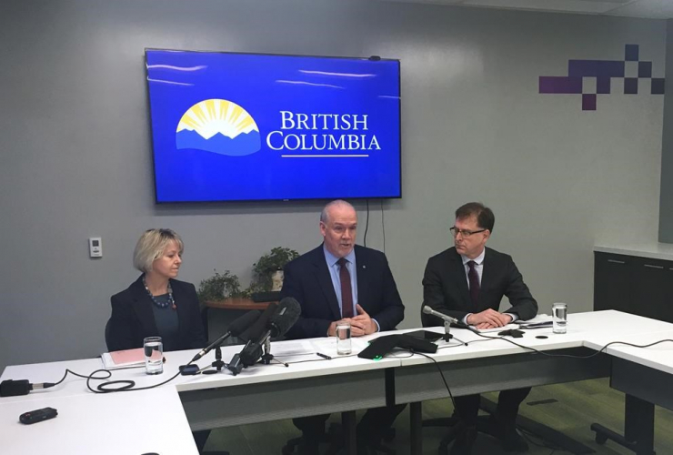 Premier John Horgan, Provincial Health Officer Dr. Bonnie Henry, Health Minister Adrian Dix,