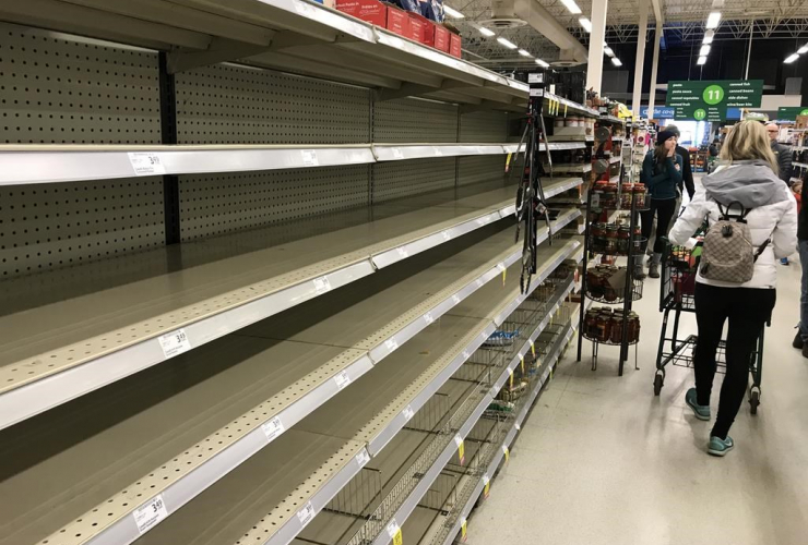 empty shelves, grocery store, North Vancouver,