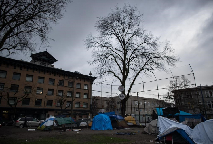 Tents, baseball diamond, homeless camp, Oppenheimer Park,