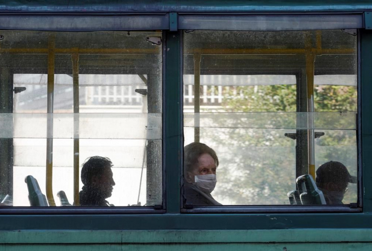 Passengers, tram, Rome,
