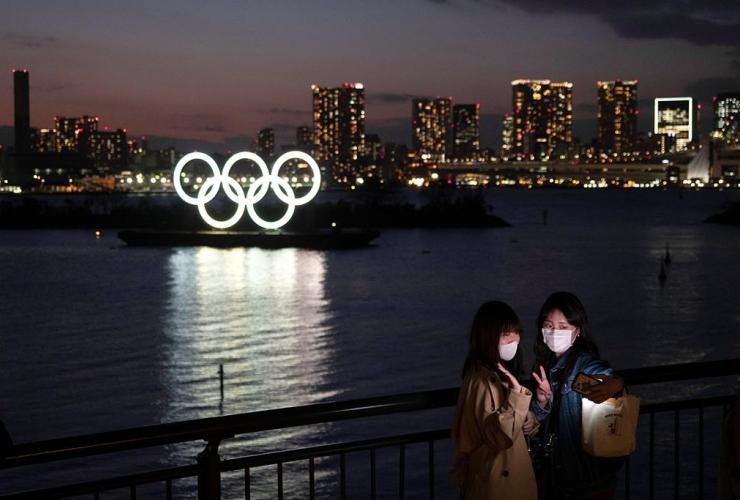 women, selfie, Olympic rings, Odaiba section, Tokyo,