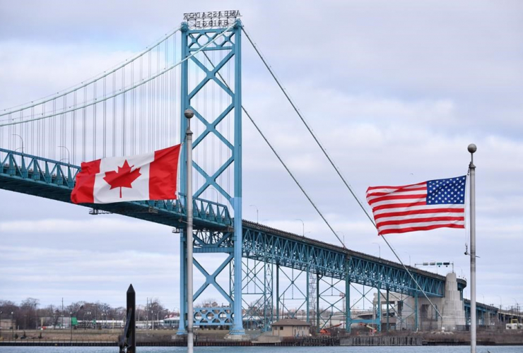 Canadian and American flags,