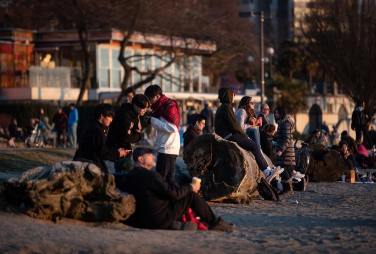 People, sunset, English Bay Beach, Vancouver,
