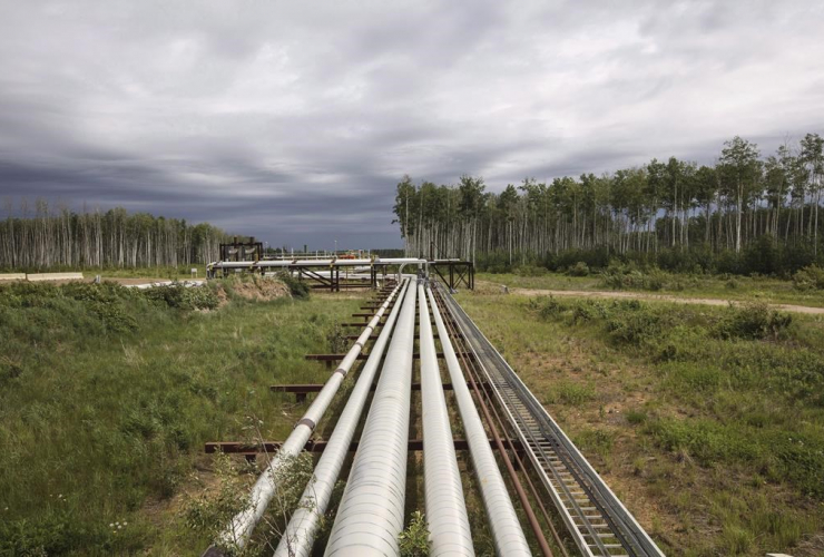 Suncor pipes, MacKay River pad, oil sands, Fort McMurray Alta,