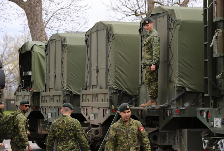 Reservists, military vehicles, boats, fuel, CFB Kingston Kingston,