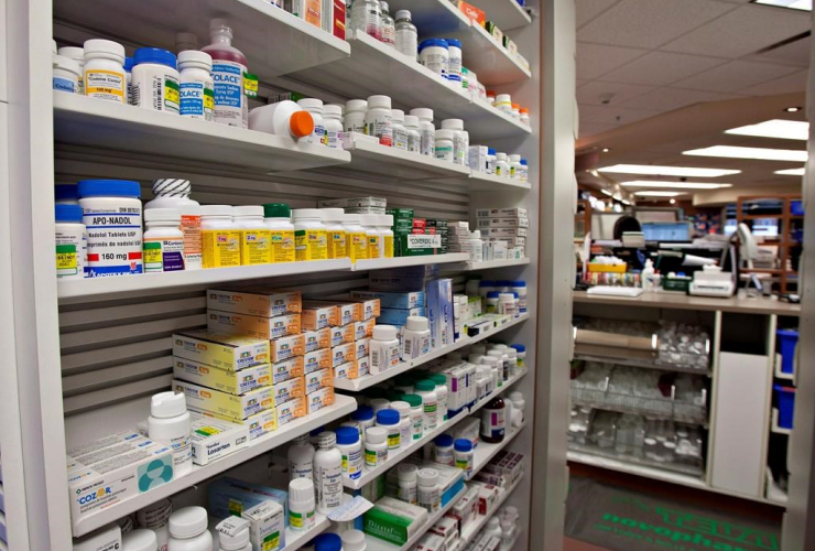 shelf of drugs, pharmacy, Quebec City,