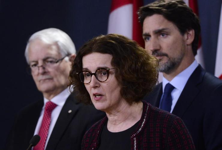 Deputy Minister of Foreign Affairs Marta Morgan, Minister of Transport Marc Garneau, Prime Minister Justin Trudeau,
