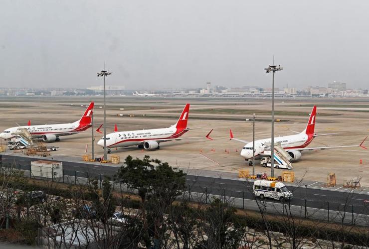 Shanghai Airlines Boeing 737 Max 8 passenger planes, Hongqiao Airport, Shanghai, China,