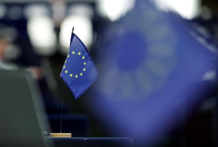 European flag, European Parliament, Strasbourg, eastern France,
