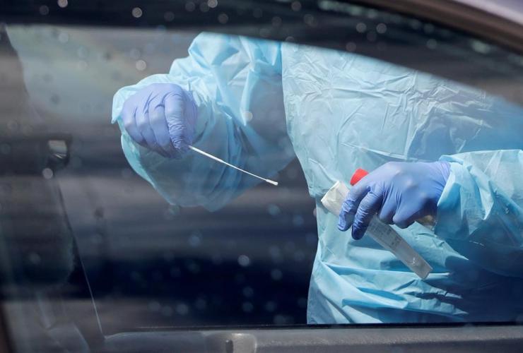 medical assistant, swab, patient, coronavirus testing site, Seattle,
