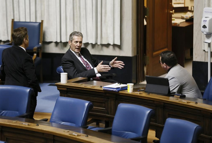 Manitoba premier Brian Pallister, Ron Schuler, Jeff Wharton,