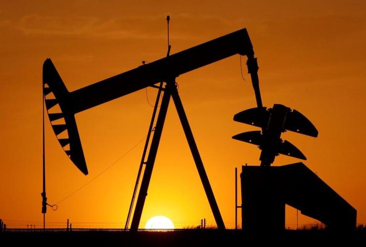 pumpjack, silhouetted, sun, Oklahoma City,