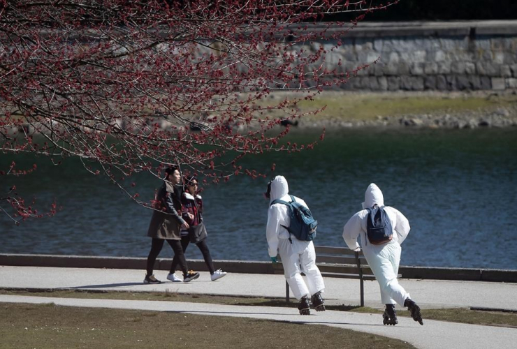 people, wearing, personal protective equipment, respirators, coverall suits, skate, seawall, Stanley Park, Vancouver,