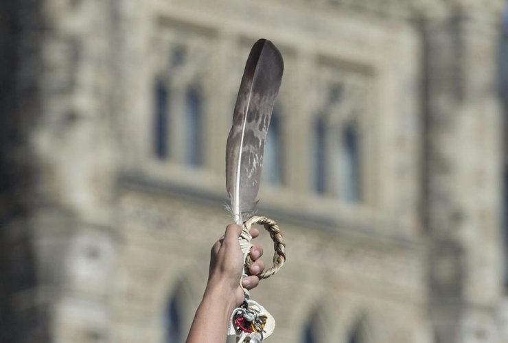 eagle feather, rally, for Missing and Murdered Indigenous Women and Girls, Parliament Hill,