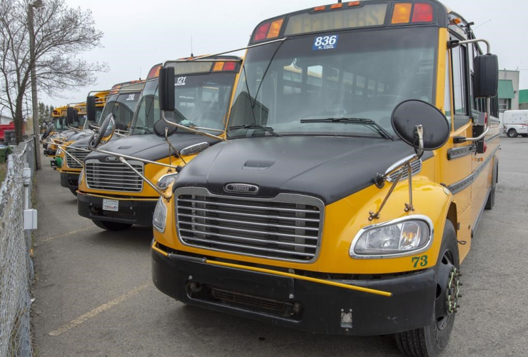 School busses, parked, depot,
