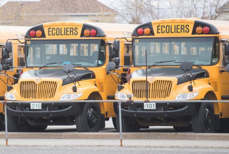 School buses, depot, Vaudreuil-Dorion,