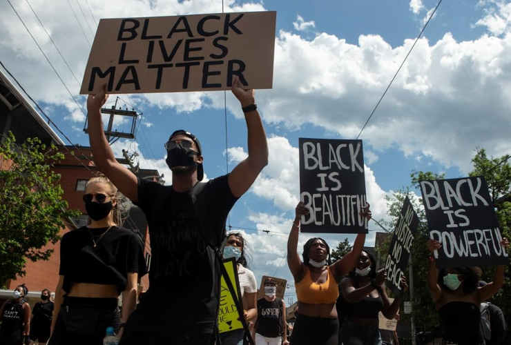 Protesters, anti-racism rally, Toronto,