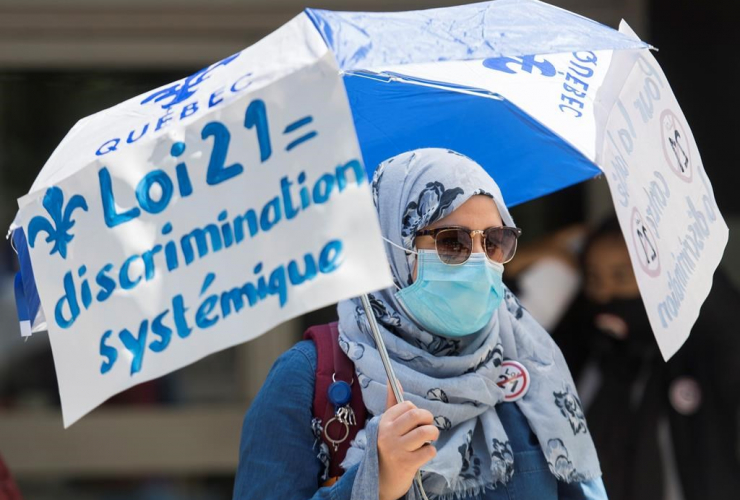protest, Law 21, Quebec Premier Francois Legault,