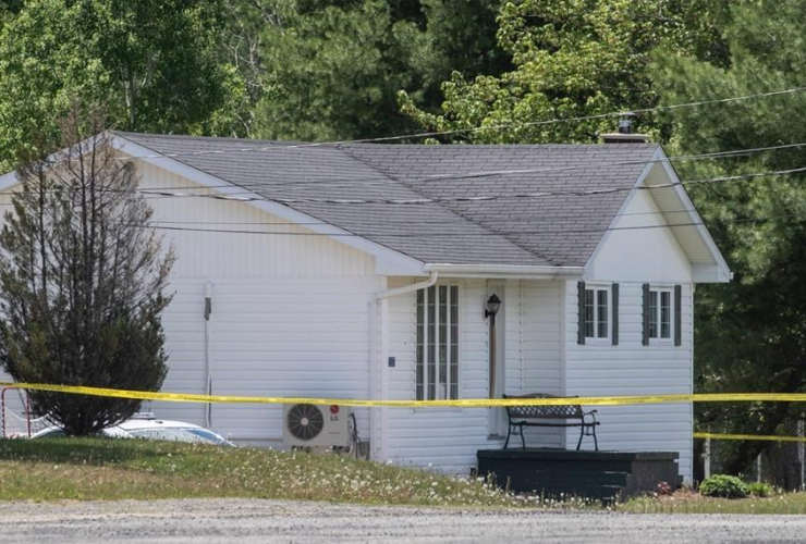 house, police tape,