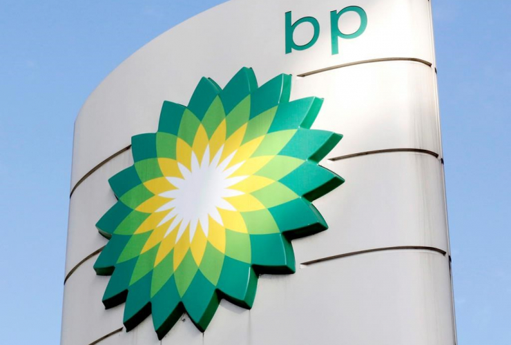 BP logo, petrol station, London,