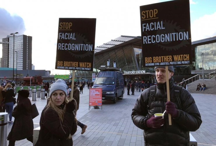 People, demonstrate, mobile police facial recognition facility, London,