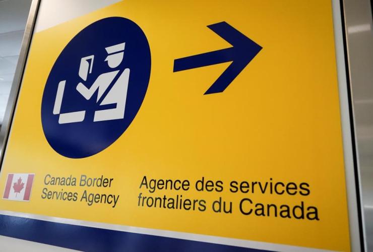 Canada Border Services Agency, CBSA, sign, Calgary, Alta.,