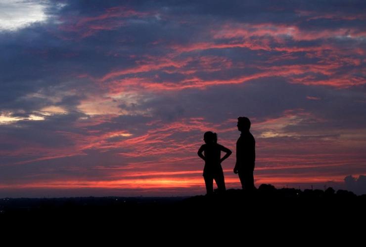 couple, watch, sunset, park,