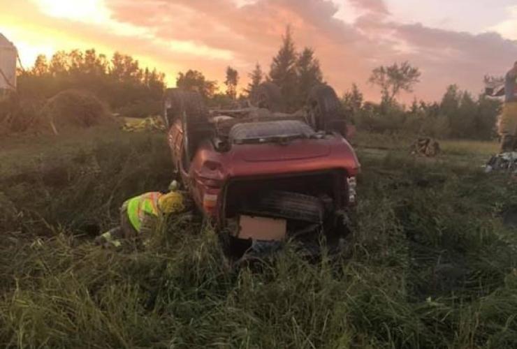 first responder, overturned vehicle, tornado, Virden, Man.,