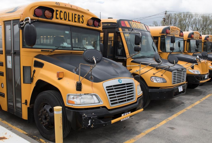 School buses, depot, Vaudreuil-Dorion, Que., Montreal,