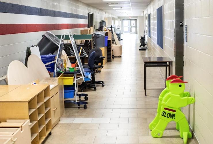 Furniture, corridor, school, Brampton, Ont.,