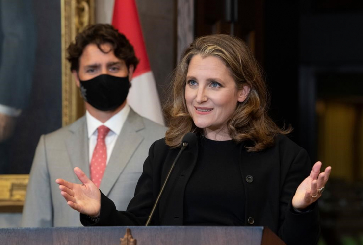 Prime Minister Justin Trudeau, Deputy Prime Minister and Finance Minister Chrystia Freeland,
