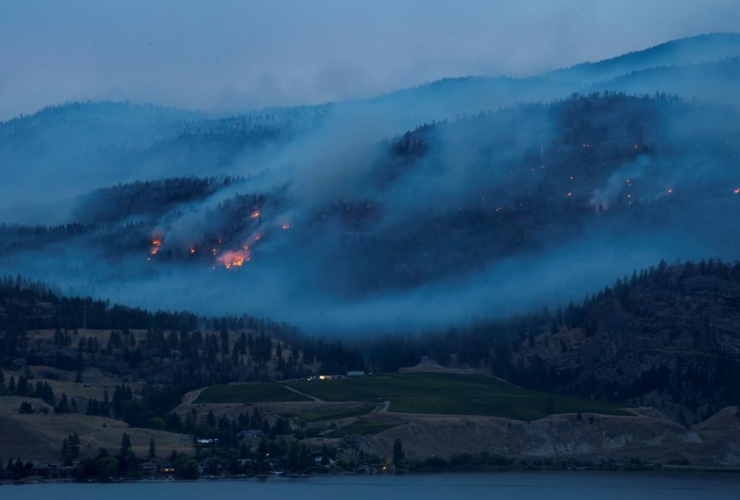 Flames, smoke, Christie Mountain wildfire, Skaha Lake, Penticton,