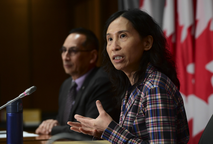 Chief Public Health Officer Dr. Theresa Tam and Dr. Howard Njoo, Deputy Chief Public Health Officer, hold a press conference in Ottawa on Friday, Aug. 28, 2020. THE CANADIAN PRESS/Sean Kilpatrick