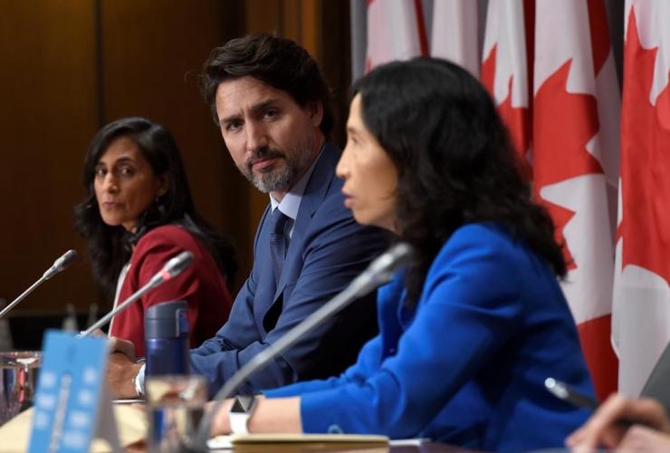 Justin Trudeau, Anita Anand, Dr. Theresa Tam,