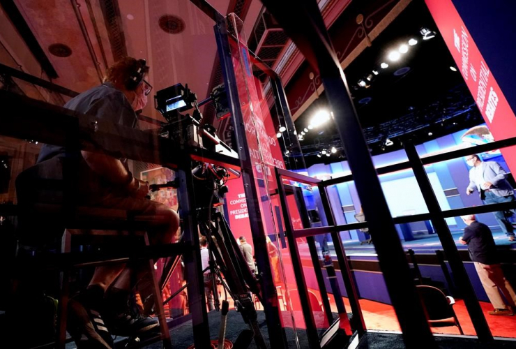 camera operator, Plexiglas panels, vice presidential debate, University of Utah,