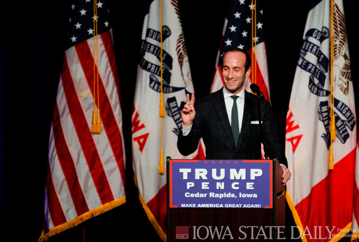 Miller at a July 28, 2016, Trump campaign rally in Cedar Rapids, Iowa Max Goldberg from USA - Trump Cedar Rapids Senior Policy Advisor for the Trump Campaign Stephen Miller throws up a peace sign while saying hello to the crowd, before a Donald Trump even
