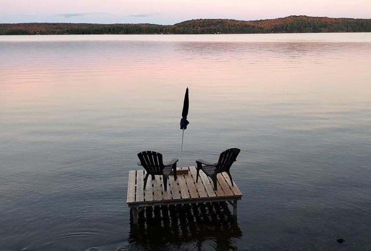 Muskoka chairs, Boshkung Lake, Algonquin Highlands,