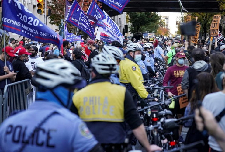 Police, President Donald Trump supporters, pro-vote counting demonstrators, Philadelphia Convention Center,