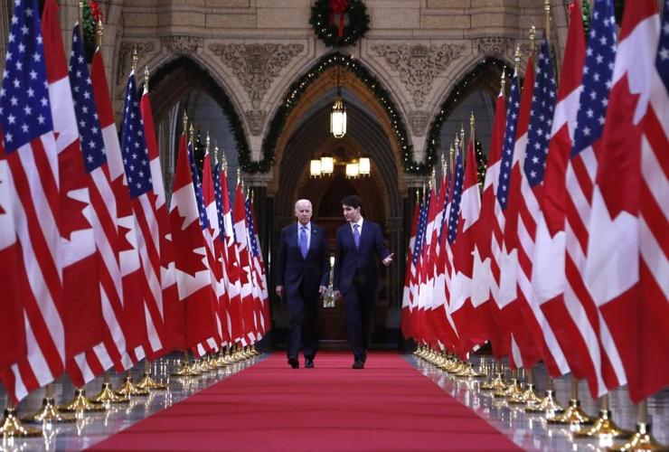 Prime Minister Justin Trudeau,  US vice-president Joe Biden,