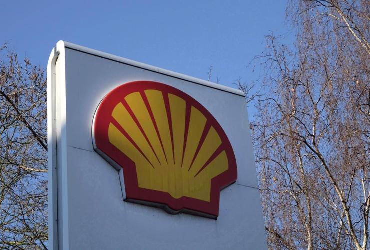 Shell logo, gas station, London